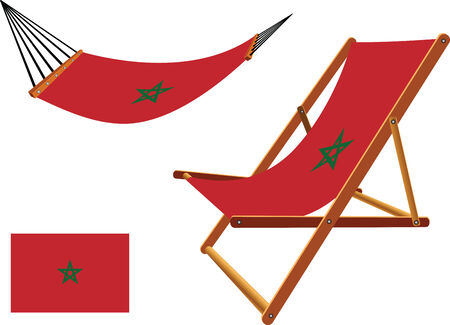 morocco hammock and deck chair set against white background, abstract vector art illustration Vector