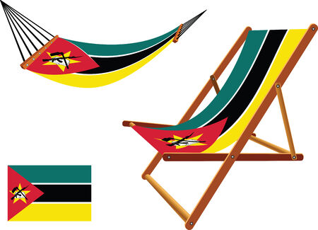 hanged: mozambique hammock and deck chair set against white background, abstract vector art illustration