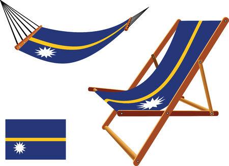 transat: Nauru hamac et chaise longue r�gl� sur le fond blanc, r�sum�, vecteur art illustration