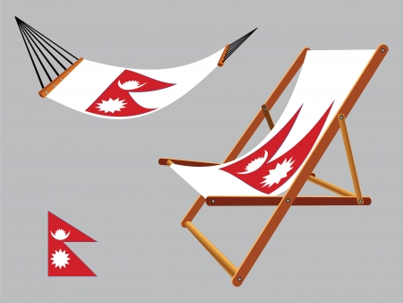 nepal hammock and deck chair set against gray background, abstract vector art illustration