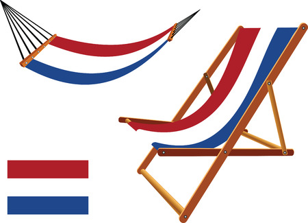 netherlands hammock and deck chair set against white background, abstract vector art illustration