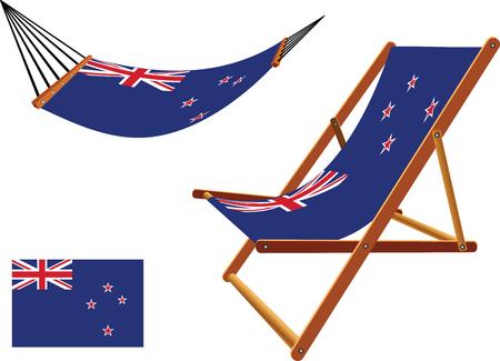 transat: nouveau hamac et chaise longue s�rie z�lande contre un fond blanc, vecteur abstract art illustration