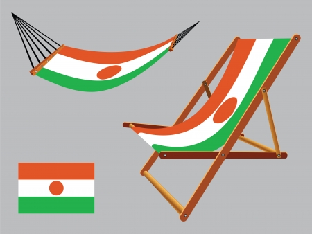 niger hammock and deck chair set against gray background, abstract vector art illustration  イラスト・ベクター素材