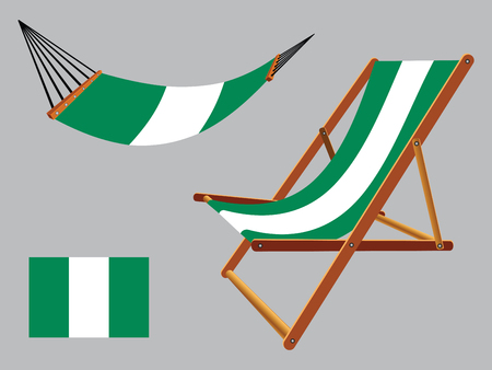 nigeria hammock and deck chair set against gray background, abstract vector art illustration