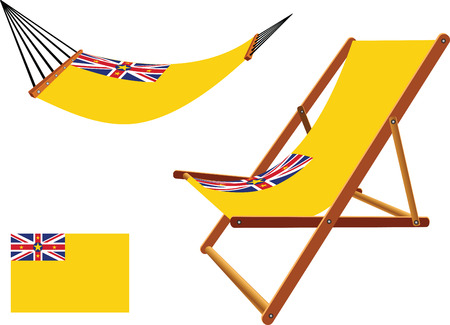 niue: niue hammock and deck chair set against white background, abstract vector art illustration