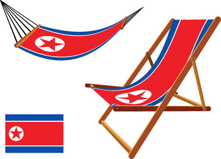 hanged: north korea hammock and deck chair set against white background, abstract vector art illustration Illustration