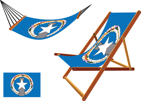 northern mariana islands hammock and deck chair set against white background, abstract vector art illustration Vector