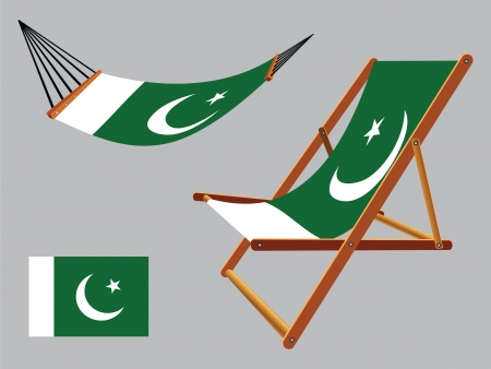 pakistan hammock and deck chair set against gray background, abstract vector art illustration