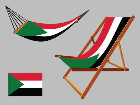 palestine hammock and deck chair set against gray background, abstract vector art illustration Çizim