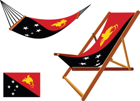 papua new guinea hammock and deck chair set against white background, abstract vector art illustration Illustration