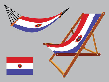 hanged: paraguay hammock and deck chair set against gray background, abstract vector art illustration