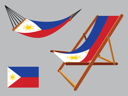 philippines hammock and deck chair set against gray background, abstract vector art illustration