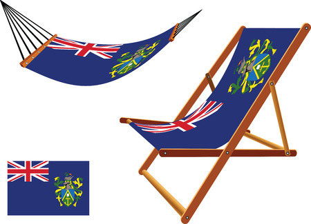 pitcairn: pitcairn islands hammock and deck chair set against white background, abstract vector art illustration Illustration