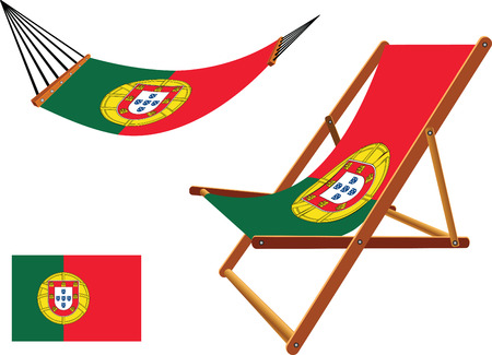 portugal hammock and deck chair set against white background, abstract vector art illustration