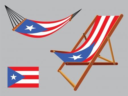 transat: puerto rico hamac et chaise longue un fond gris, illustration vectorielle art abstrait