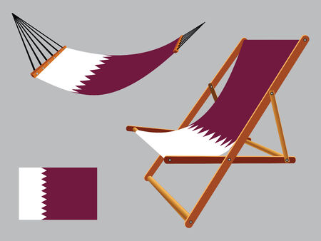 qatar hammock and deck chair set against gray background, abstract vector art illustration Vector