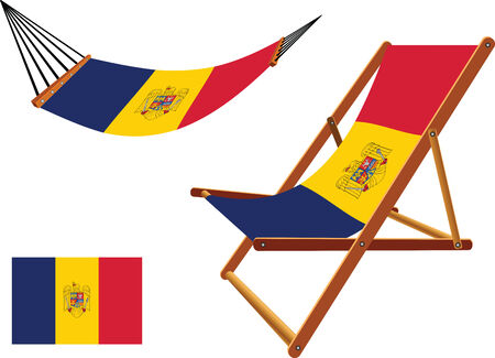 romania hammock and deck chair set against white background, abstract vector art illustration