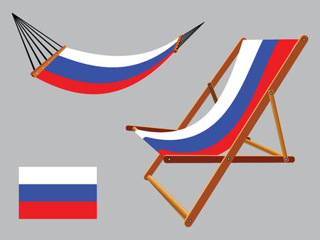 russian federation hammock and deck chair set against gray background, abstract vector art illustration