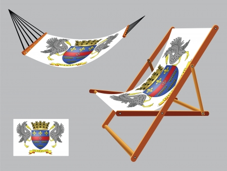 saint barthelemy hammock and deck chair set against gray background, abstract vector art illustration 版權商用圖片 - 25270761