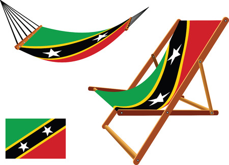 saint kitts and nevis hammock and deck chair set against white background, abstract vector art illustration
