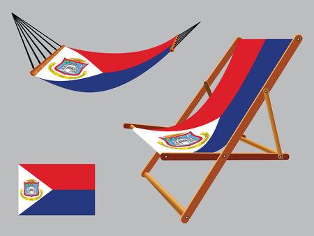 transat: saint martin hamac et chaise longue s�rie sur fond gris, illustration vectorielle art abstrait Illustration