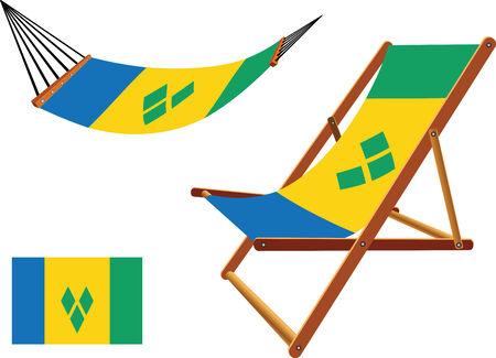 carribean: san vicente y las granadinas hamaca y tumbona conjunto contra el fondo blanco, ilustraci�n vectorial arte abstracto