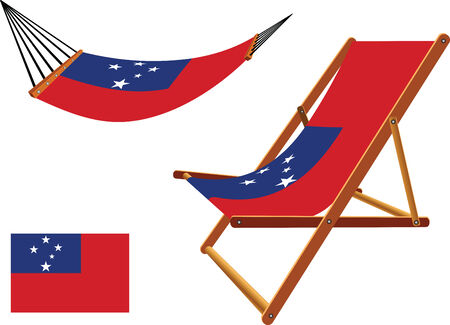 hanged: samoa hammock and deck chair set against white background, abstract vector art illustration