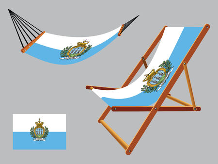 holand: san marino hammock and deck chair set against gray background, abstract vector art illustration Illustration
