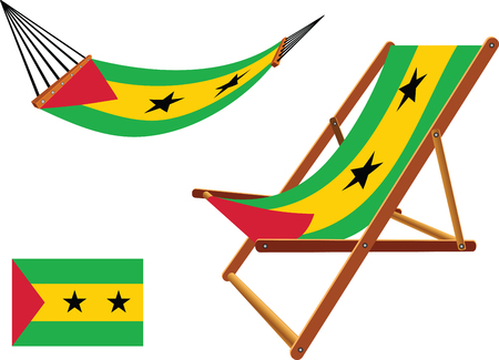 sao tome and principe hammock and deck chair set against white background, abstract vector art illustration Vector