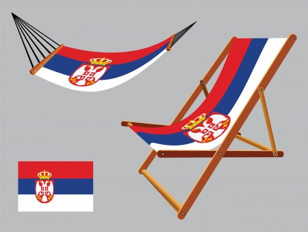 serbia hammock and deck chair set against gray background, abstract vector art illustration Ilustração