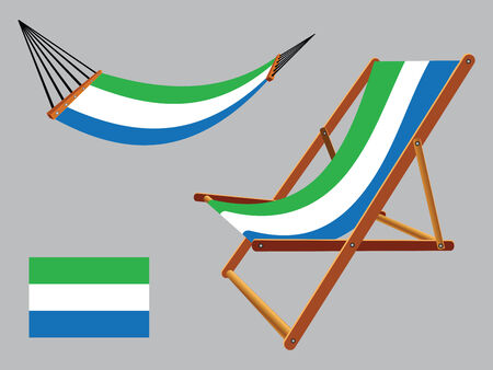 sierra leone hammock and deck chair set against gray background, abstract vector art illustration