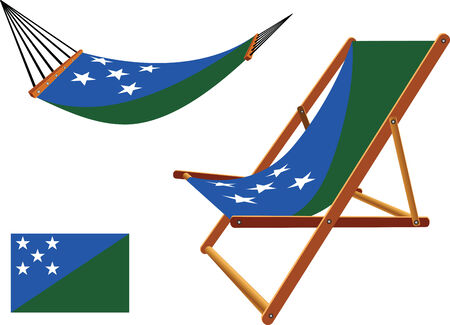 solomon islands hammock and deck chair set against white background, abstract vector art illustration Vector