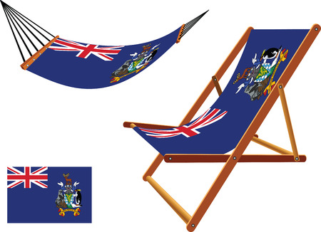 south georgia and south sandwich islands hammock and deck chair set against white background, abstract vector art illustration  イラスト・ベクター素材