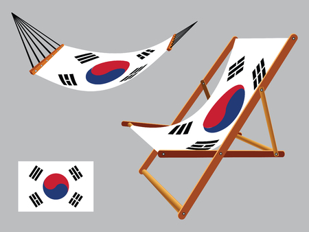 hanged: south korea hammock and deck chair set against gray background, abstract vector art illustration