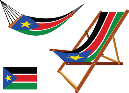 south sudan hammock and deck chair set against white background, abstract vector art illustration Vector