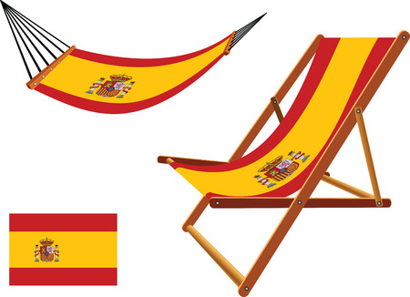 spain hammock and deck chair set against white background, abstract vector art illustration
