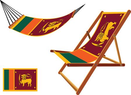 hanged: sri lanka hammock and deck chair set against white background, abstract vector art illustration Illustration