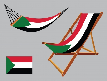 sudan hammock and deck chair set against gray background, abstract vector art illustration Vector