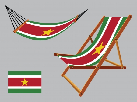hanged: suriname hammock and deck chair set against gray background, abstract vector art illustration
