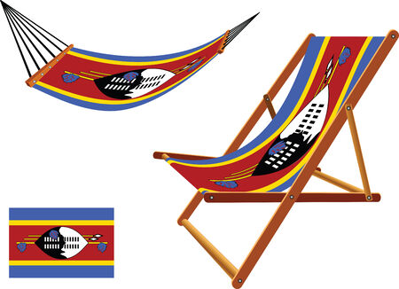 swaziland hammock and deck chair set against white background, abstract vector art illustration  イラスト・ベクター素材