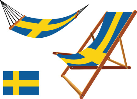 sweden hammock and deck chair set against white background, abstract vector art illustration Vector