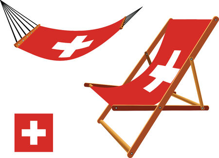 switzerland hammock and deck chair set against white background, abstract vector art illustration Vector
