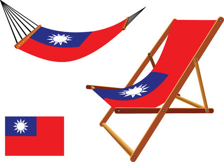 taiwan hammock and deck chair set against white background, abstract vector art illustration