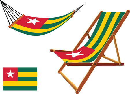 togo hammock and deck chair set against white background, abstract vector art illustration  イラスト・ベクター素材