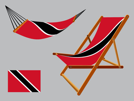 trinidad and tobago hammock and deck chair set against gray background, abstract vector art illustration