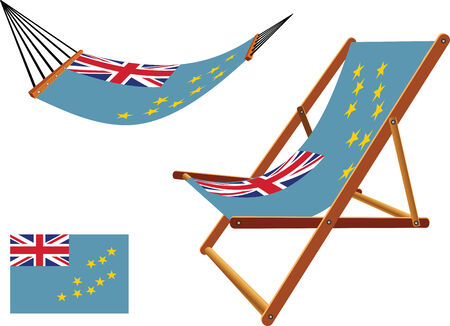 tuvalu hammock and deck chair set against white background, abstract vector art illustration