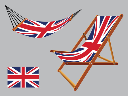 united kingdom hammock and deck chair set against gray background, abstract vector art illustration Vectores