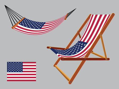 united states hammock and deck chair set against gray background, abstract vector art illustration