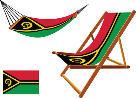 vanuatu hammock and deck chair set against white background, abstract vector art illustration Vector
