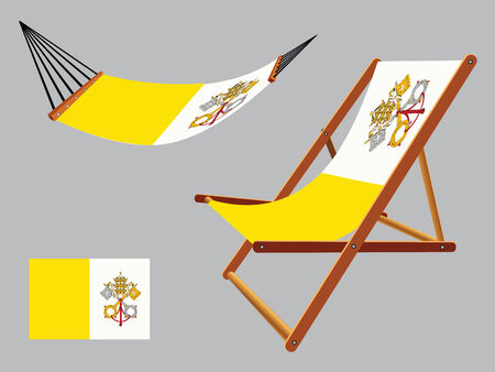 vatican hammock and deck chair set against gray background, abstract vector art illustration Vector